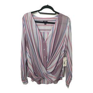 A.N.A. Faux Wrap Striped Long Sleeve Blouse, XL